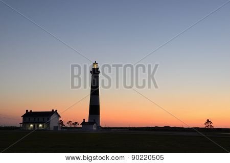 Silhouette of Bodie Lighthouse at Dawn