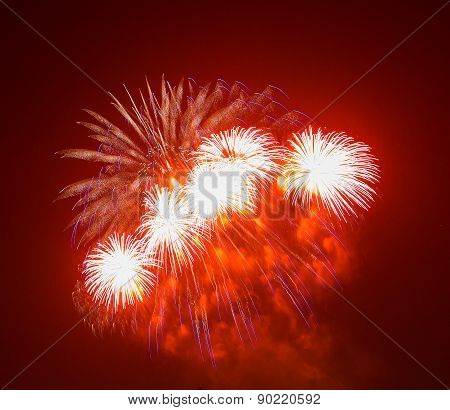 The evening fireworks in the sky in honor of celebration of Victory Day