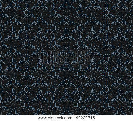 Seamless blue leaf vine line pattern background