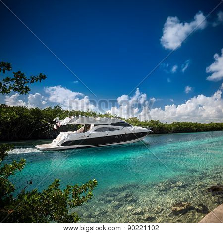 Luxury  Motor Yacht Sailing Out At Sea