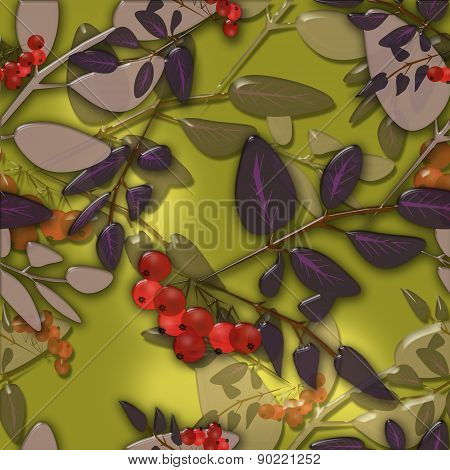 Seamless background pattern autumn leaves and rowanberry on green background glassy ef
