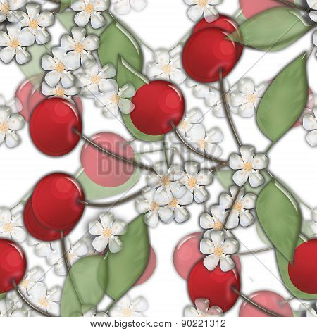 Seamless background pattern cherry and bloom on white background glassy effect illustr