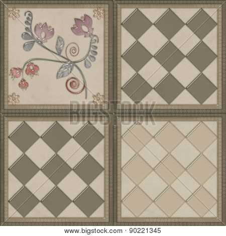 Floral pattern with flowers tile design background glass effect