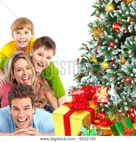 Family And Christmas Tree