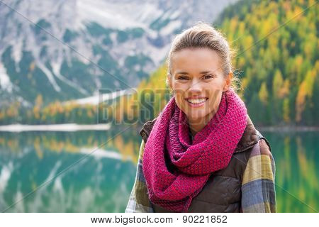 Portrait Of A Smiling Woman On Lake Bries In The Autumn