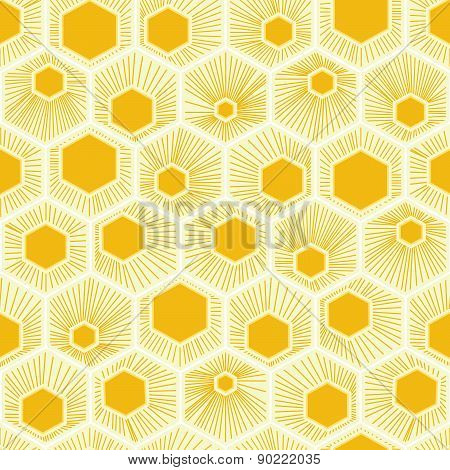 Vector Honeycomb Pattern Yellow