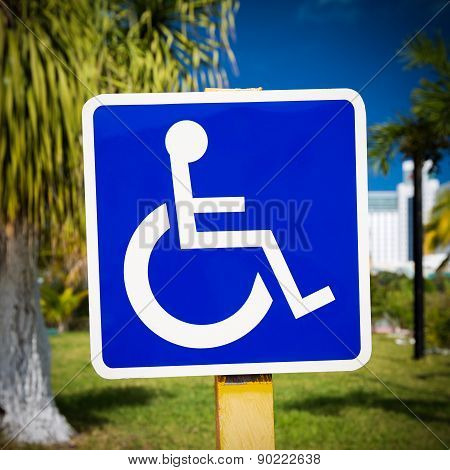 Blue Handicapped Sign With Wheelchair