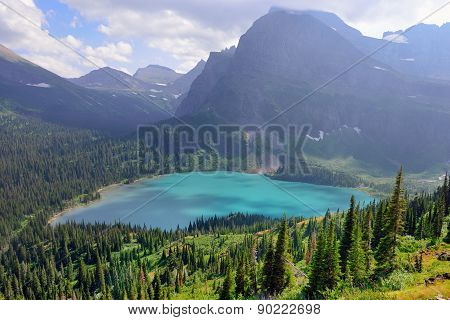 Grinnell Glacier And Lake In Glacier National Park