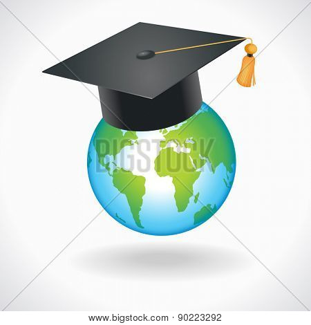 Concept of Education. Globe with academic cap on top.