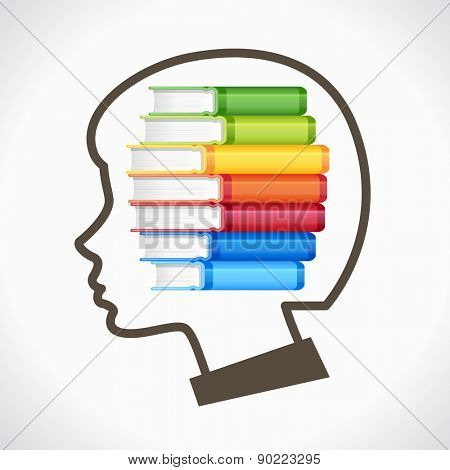 Concept of Education. Silhouette of the child's head with books
