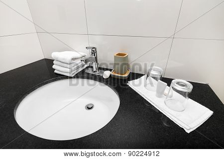 Bathroom Sink At Restroom Interior