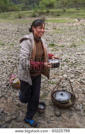 Chinese Woman Sells Hot Food In The Countryside, Guangxi, China.