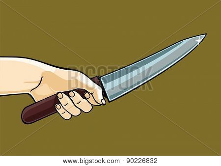 Hand holding a knife (raster version)