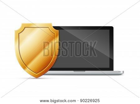 laptop with shield - internet security, antivirus or firewall