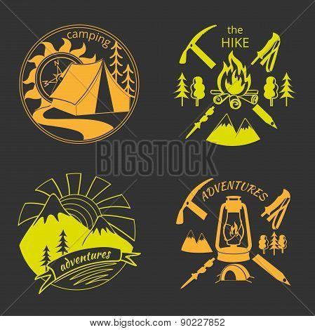 Set of vintage adventure labels
