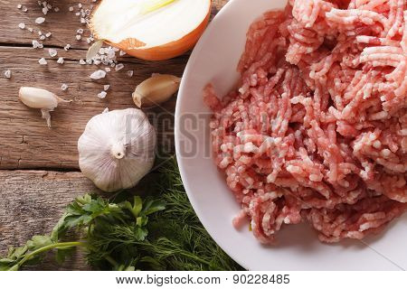 Raw Minced Meat And Ingredients On The Table. Horizontal Top View