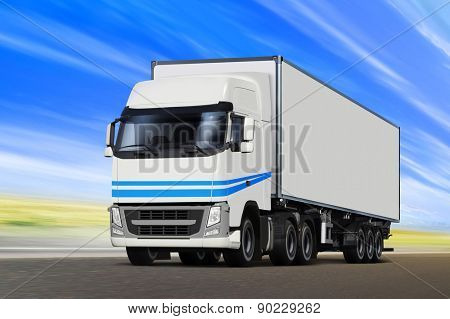 White truck moving on road in sunny summer day