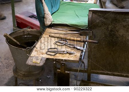 Glassworks Tools Closeup View Using For Glass Manufacturing Process