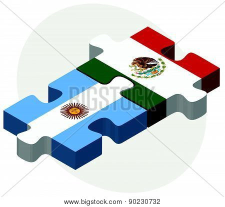 Argentina And Mexico Flags In Puzzle