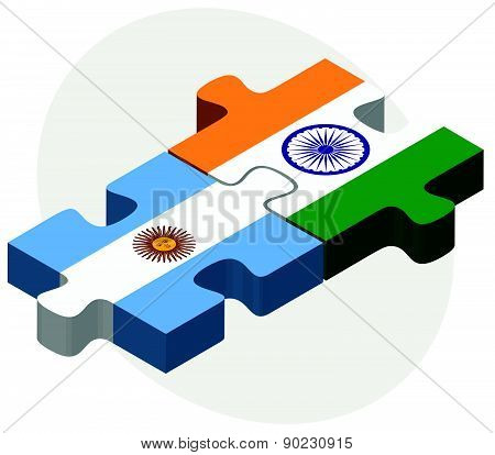 Argentina And India Flags In Puzzle