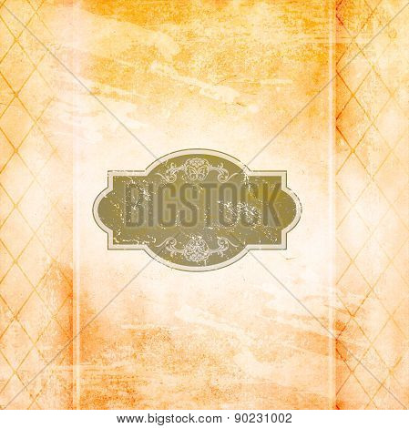 Old Grunge Paper Background With Vintage Patterns And Frame.