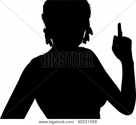 Woman Silhouette With Hand Gesture Finger Pointing Upwards