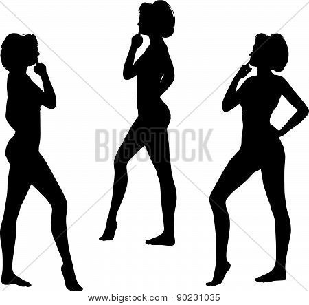 Woman Silhouette With Hand Gesture Thinking