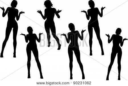 Woman Silhouette With Hand Gesture Hands Open