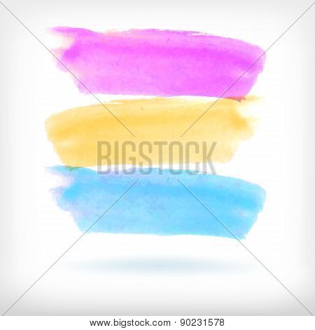 Abstract watercolor brush design vector elements.