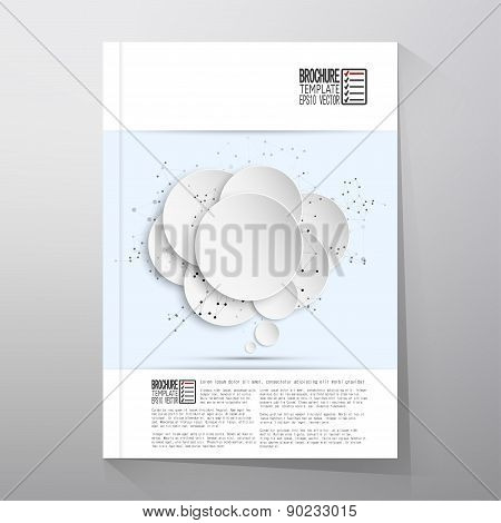 Abstract background of paper speech bubble with the social network.  Brochure, flyer or booklet for