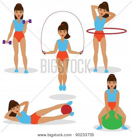 Girl Doing Exercises Set