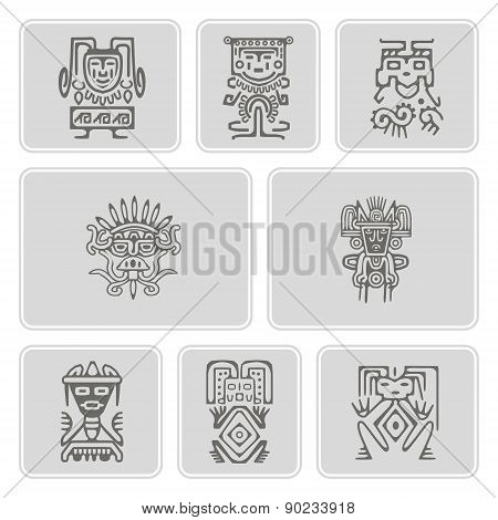 set of monochrome icons with American Indians relics dingbats characters  (part 3)