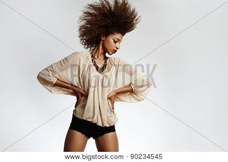 Black Woman Shake Head With Afro Hair