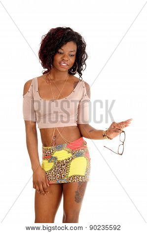 African Woman Holding Glasses.