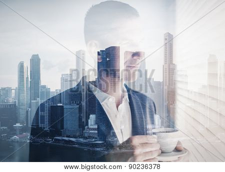 double exposure of young businessman