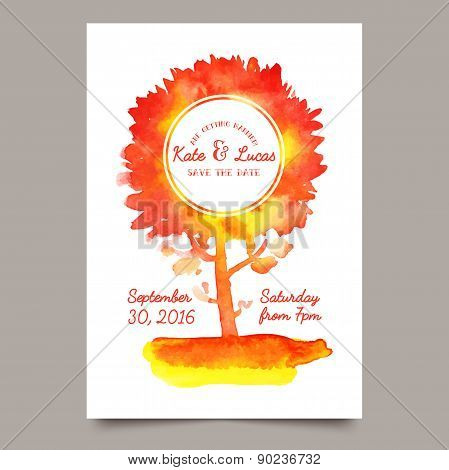 Invitation with watercolor tree.
