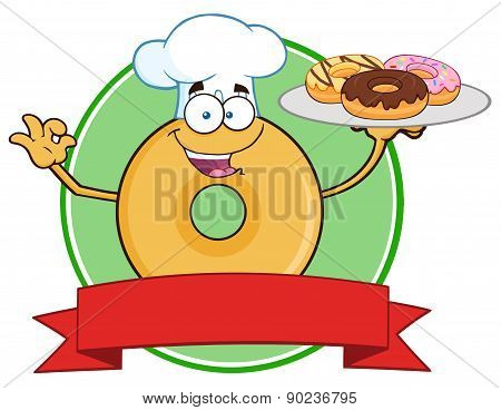 Donut Cartoon Character Wearing A Chef Hat And Serving Donuts Circle Label