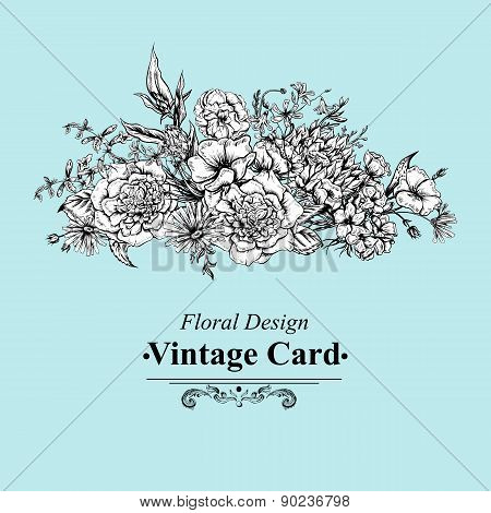 Monochrome Retro Summer Floral Greeting Card, Vintage Bouquet