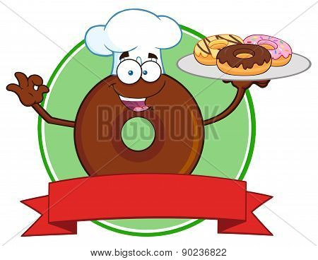 Chef Chocolate Donut Cartoon Character Serving Donuts Circle Label
