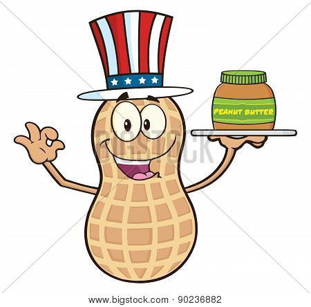 American Peanut Cartoon Character Holding A Jar Of Peanut Butter