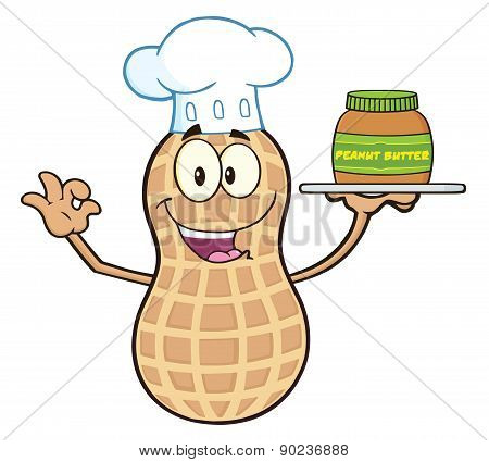 Chef Peanut Cartoon Character Holding A Jar Of Peanut Butter