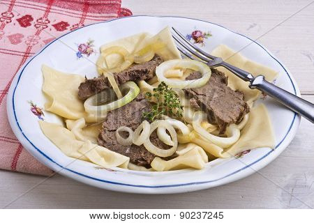 Slow Cooked Horse Meat With Homemade Noodles, Kazakh Dish Called Beshbarmak