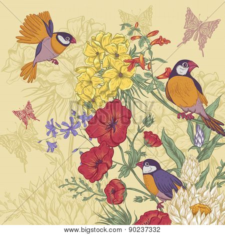 Vintage Floral Greeting Card with Birds and Butterflies