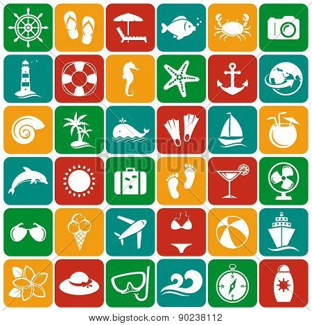 Sea And Beach Flat Icons. Vector Set.