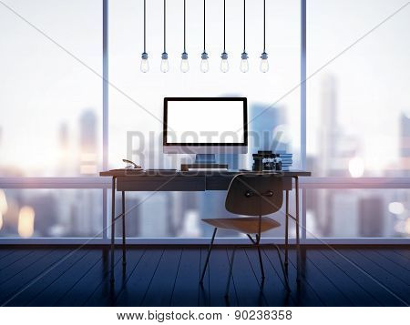 Mock up of generic design computer screen on workspace. 3D rendering