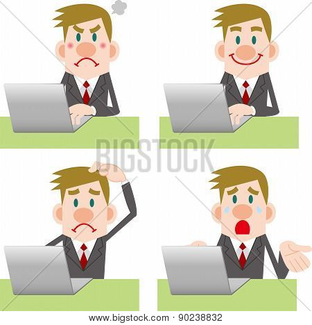 Businessman computer Pose Collection
