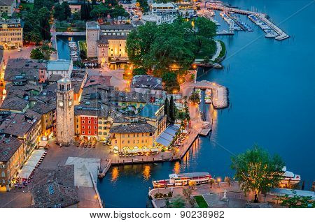 Lake Garda, Town Of Riva Del Garda, Italy (blue Hour)
