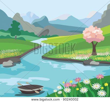 Beautiful spring landscape (vector illustration)