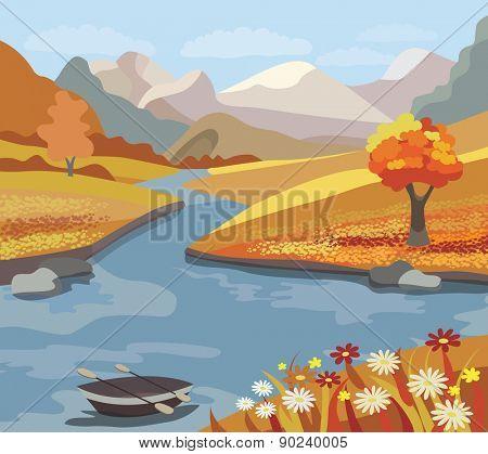 Beautiful autumn landscape (vector illustration)