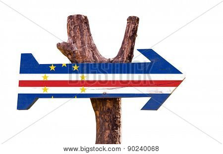 Cape Verde Flag wooden sign isolated on white background